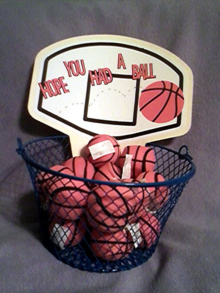 Sport Party favor basket for a birthday party!!