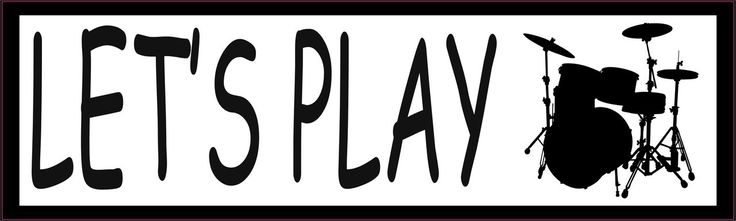 10in x 3in Lets Play Drum Music Bumper Sticker Vinyl Window Decal
