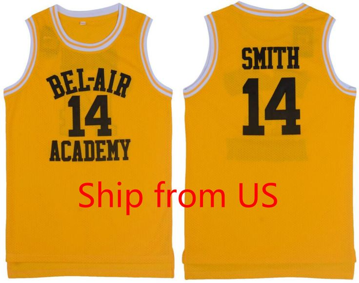 Yellow Basketball T-shirts Basketball Jersey Will Smith The Fresh Prince Shirts 14# Letters and Maroon Letters Hip Hop