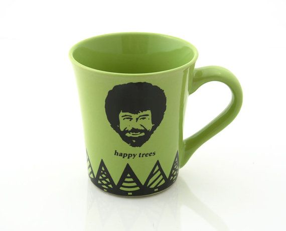 Bob Ross happy Trees Green stoneware mug - There are no mistakes, just happy accidents