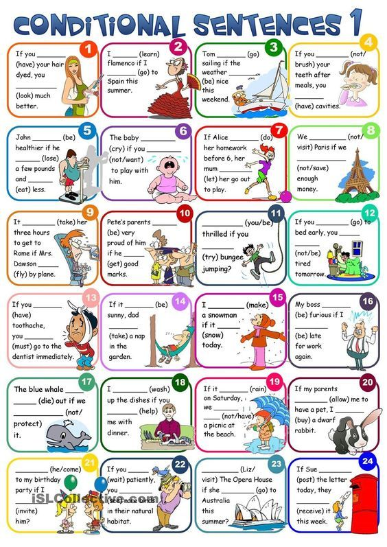 Conditional sentences - type 1 | FREE ESL worksheets; cut out as cards to use…
