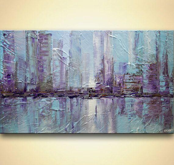Ciudad de Nueva York pintura paleta cuchillo por OsnatFineArt