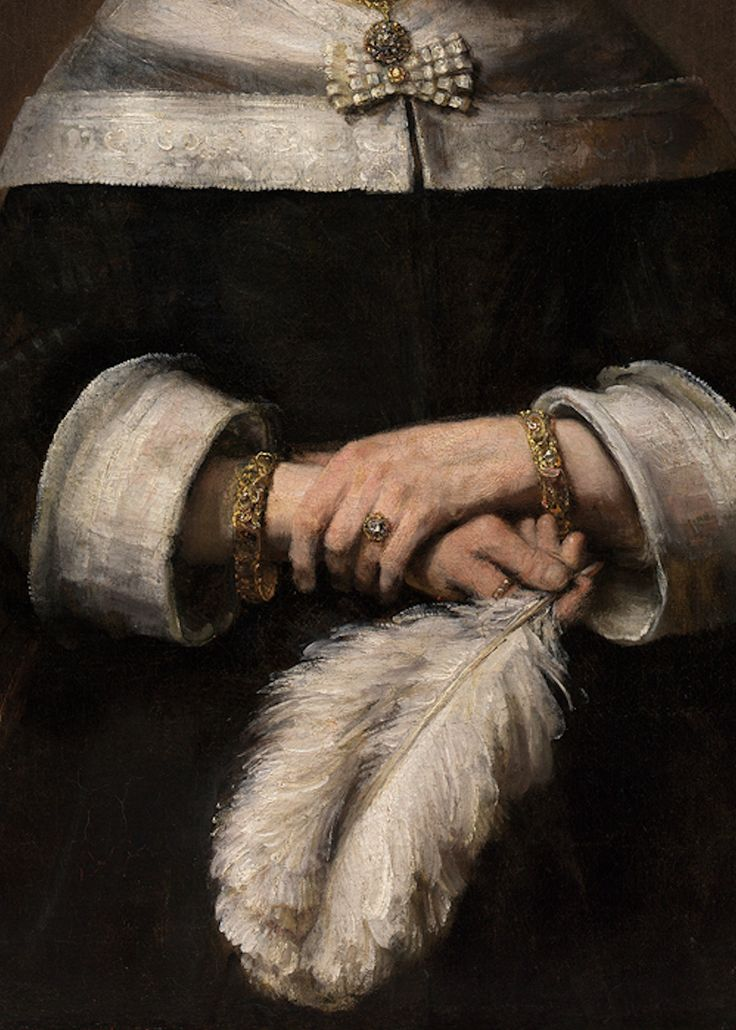 Rembrandt, Portrait of a Lady with an Ostrich-Feather Fan (detail), circa 1658-1660 (1658-1668).