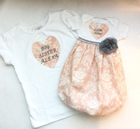 Matching SISTER Clothes.. little sister baby gown and big sister shirt - embroidered heart -Coming home outfit