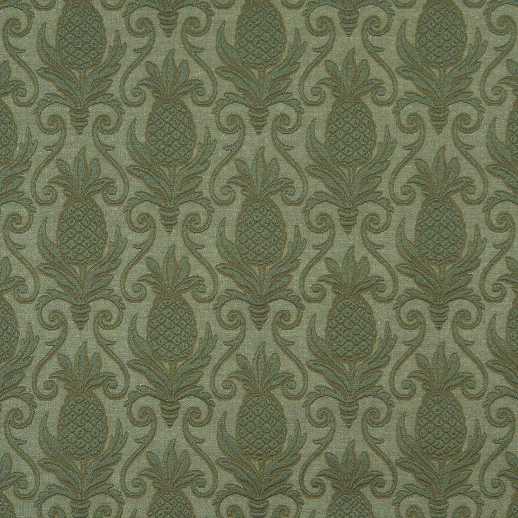 sage dark green pineapple beach brocade swirl upholstery fabric