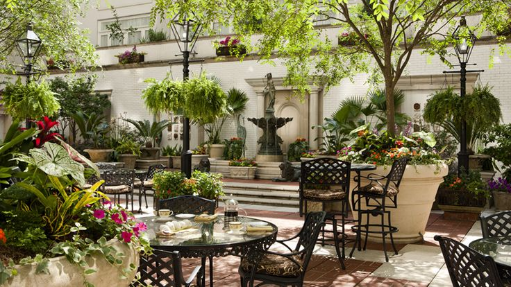 Relax day or night in the ritz carlton new orleans lush for French style courtyard ideas