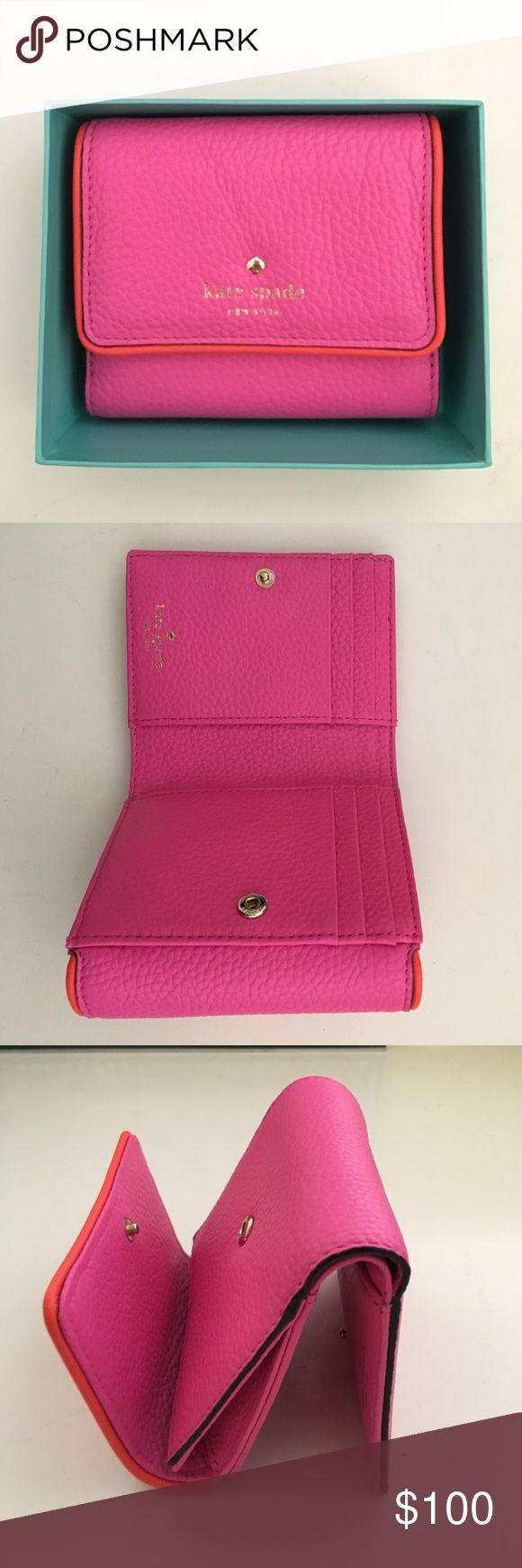 Kate Spade Tavy Wallet Brand new with tags, original box, & care card. Never used. Lots of space & compartments. Compresses into a cute tiny form. Front coin purse & inside had credit card slots & full cash holder space. Kate Spade Bags Wallets