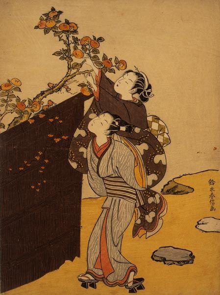 Picking a Persimmon, Woodblock Print on Paper, Edo Period, c. 1766-1767, Suzuki Harunobu / 鈴木春信. Japanese (1724 - 1770). ☚