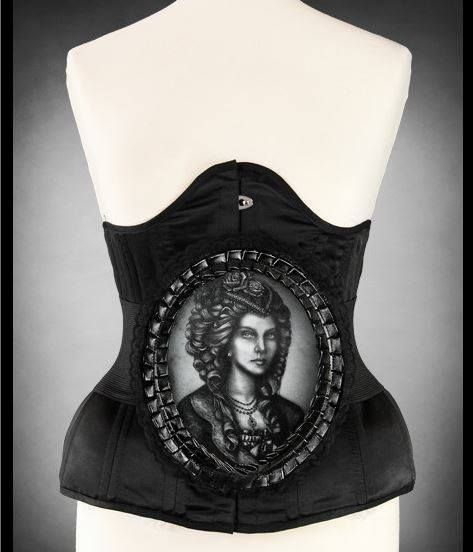 Gothic Stretchgürtel victorian Lady Hologramm Cameo victorian mieder kamme