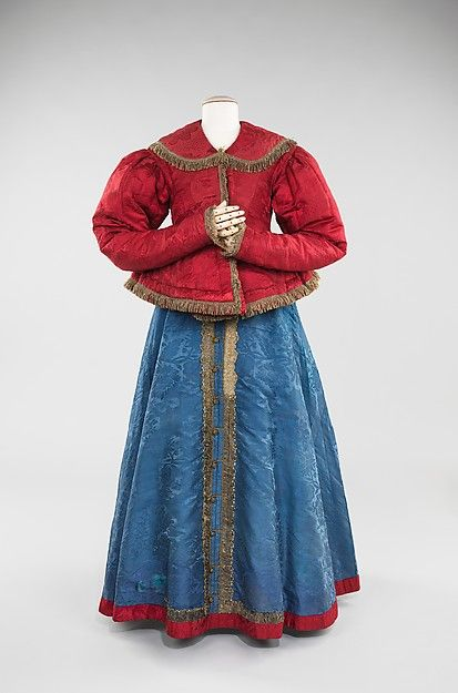 The traditional sarafan, pictured here with a jacket, was the integral part of Russian costume in the northern and southern regions of Great Russia beginning in the 18th century.