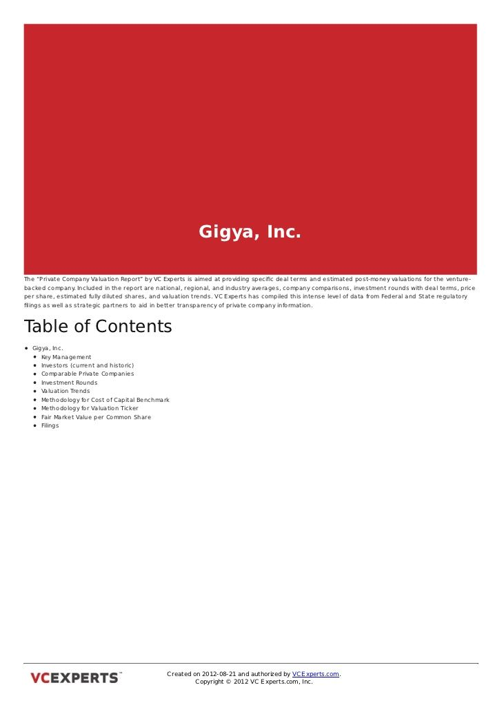 Gigya, Inc. - Venture Capital Financing Deal Terms & Valuations from VC Experts, Inc. via Slideshare