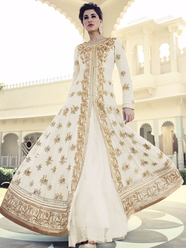 Shop Nargis Fakhri designer party wear off white georgette semi stitich lehenga cum salwar suit online from G3fashion India. Brand - G3, Product code - G3-WSS12221, Price - 11895, Color - White, Fabric - Georgette,