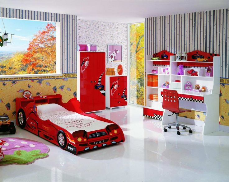27 beautiful children bedrooms for boys and girls awesome wall decor beautiful children bedroom design with car shaped bed and glossy red - Boys Room Ideas Cars