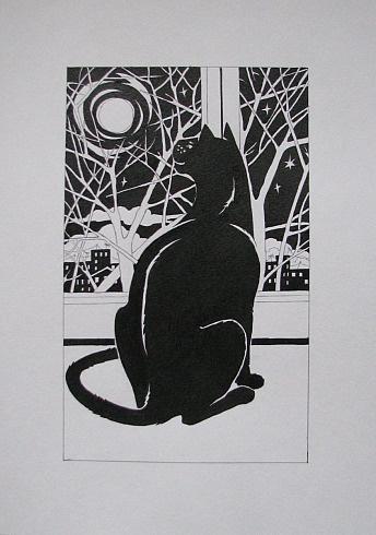 Кошка и луна.   Белая бумага/тушь 30см x 40см 2011 г. Author: CAT777 (Anna)