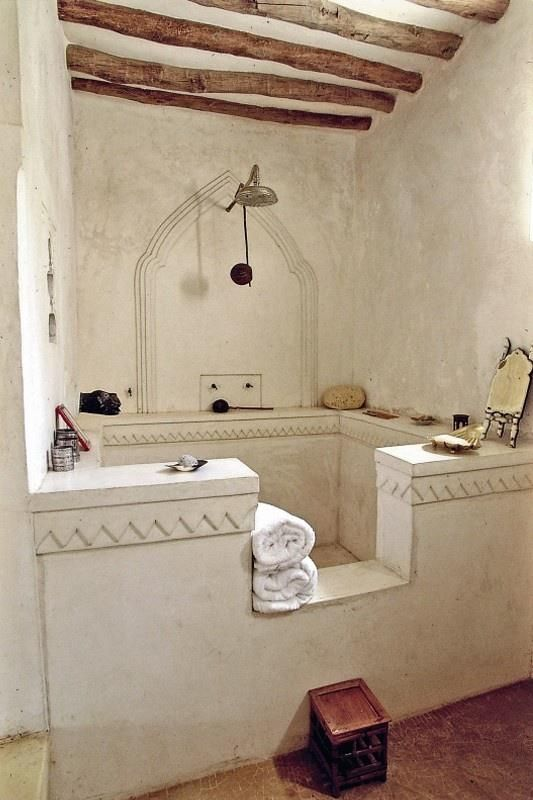 Large shower in a cob house. Just imagine the possibilities with cob.