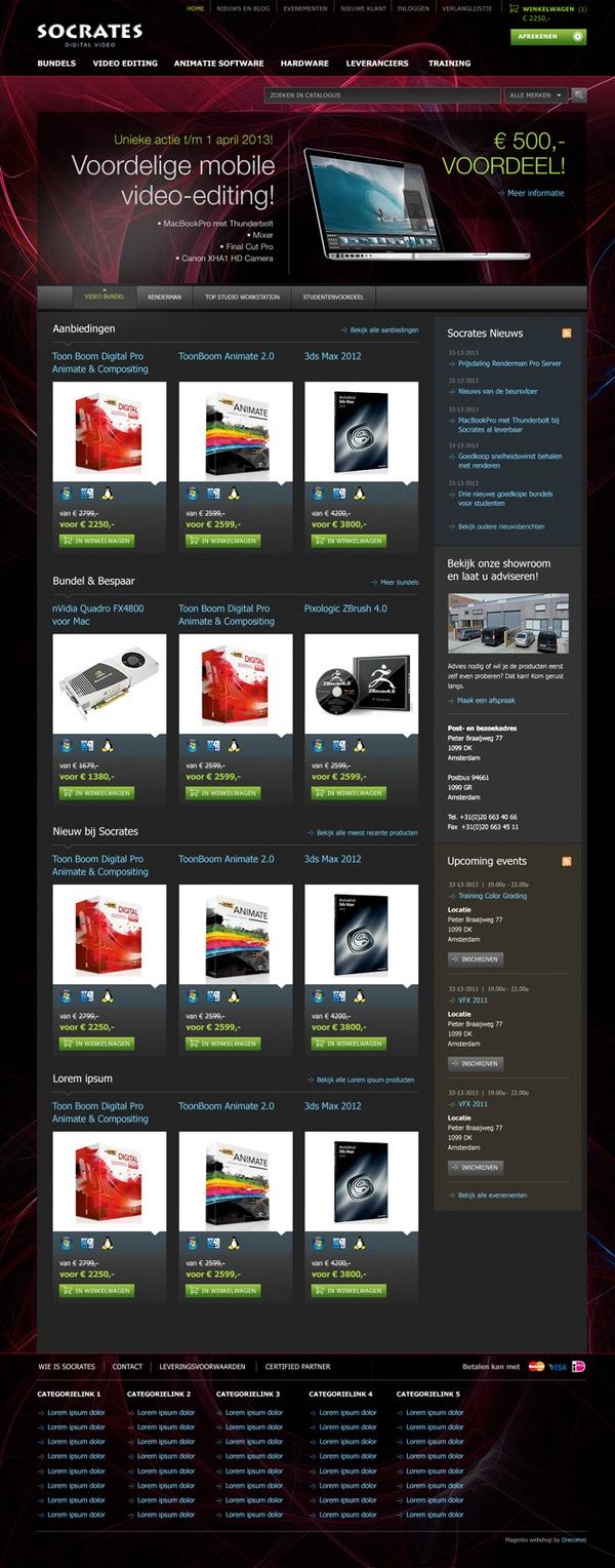 Socrates Digital Video Equipment Webshop Design -   Part of the portfolio of Freelance Webdesigner Michiel Nagtegaal (Designia). Check out the portfolio on: www.designia.nl