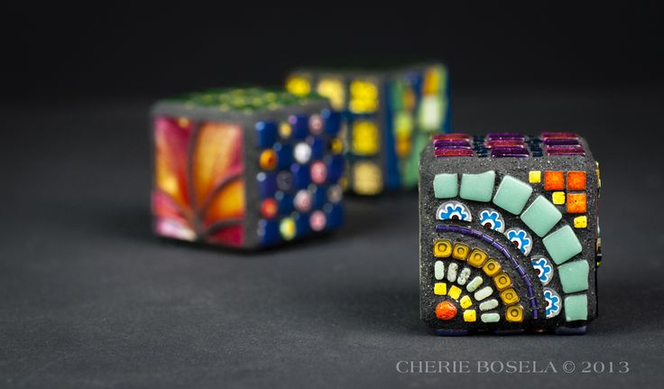 """Multiple Personality Mosaic Cubes - 1.5"""" x 1.5"""" x 1.5"""" - by Cherie Bosela #mosaic #glass #cube"""