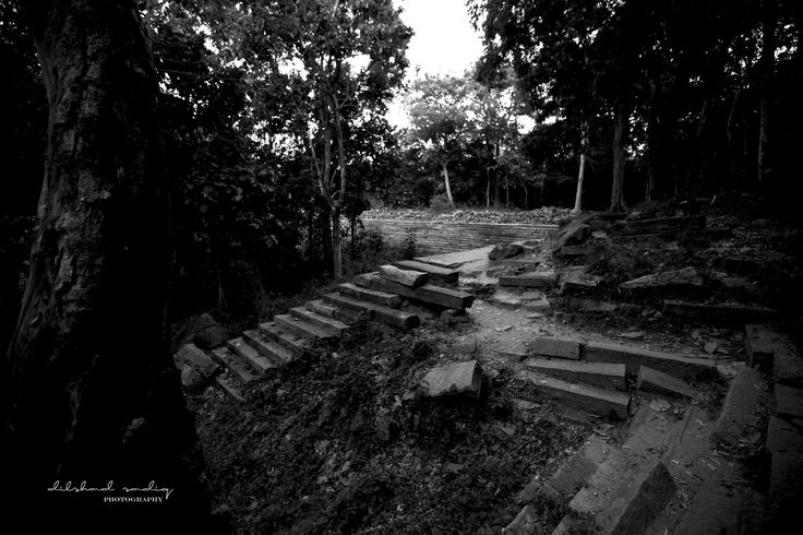 the rather steep steps which connects the different levels of ritigala