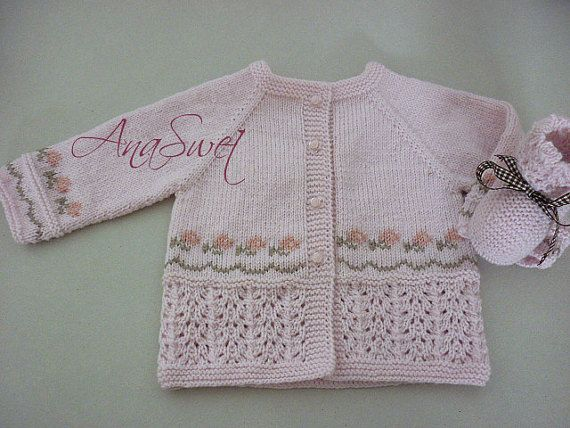 Pattern baby cardigan .Pink cardigan with embroidery