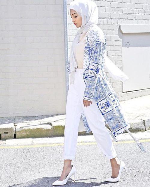 classy white cardigan hijab spring