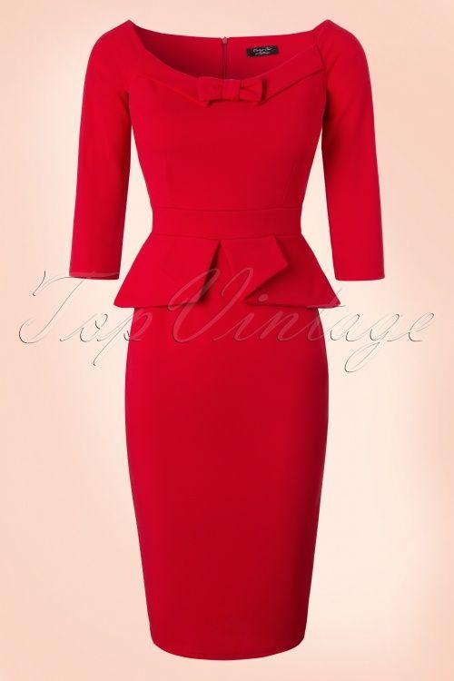 Vintage Chic Peplum Style Scuba Red Pencil Dress 100 20 19629 20161117 0005W