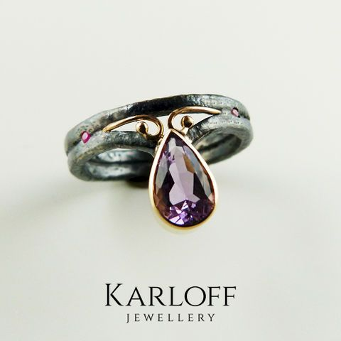 119S,|,Silver,Ring,With,Gold,,Ruby,,Amethyst,Silver Ring With Gold With Ruby, Handmade Jewellery, Art Jewellery