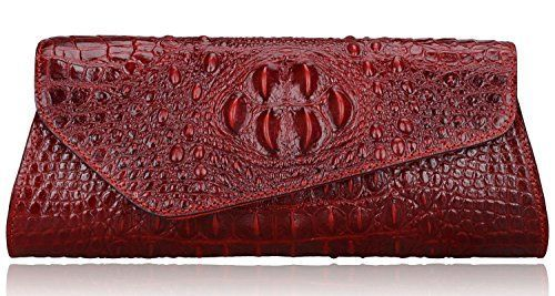 Pijushi Designer Embossed Crocodile Evening Cluches Handbags 5001 (Red) -- You can find out more details at the link of the image.