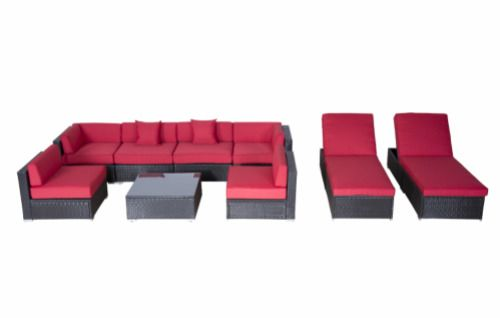 9pc Outdoor Patio Furniture Rattan Wicker Sectional Sofa Cushioned Chaise Lounge #OutsunnyGardenFurniture