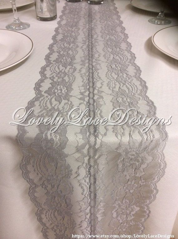GREY Lace Table Runner, 5ft-10ft x 8in wide/ Lace Overlay, Wedding Decor, Tabletop decor/ Weddings/Etsy finds/Summer finds/trends