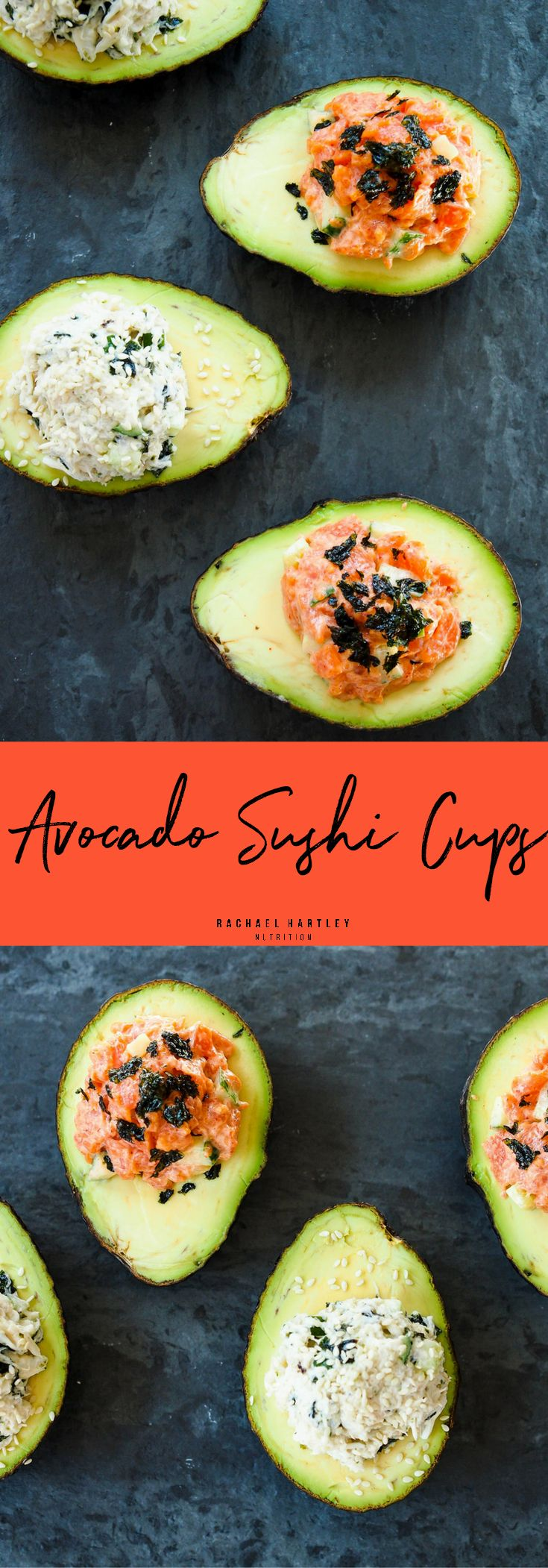 California Roll and Spicy Smoked Salmon Avocado Sushi Cups