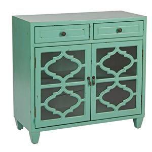 Credenza modello arabo verde con 2 ante vetro 2 cassetti struttura mdf decorata