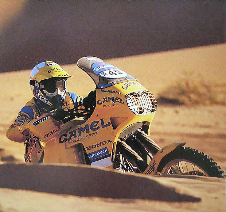 Beppe Gualini sur Honda Africa Twin Camel - Paris Dakar 1991- parisdakar.it