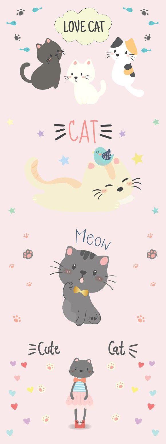 Cute Cat Vector Cat Pattern Wallpaper Cute Cartoon Wallpapers Cat Vector Cute cat cartoon wallpaper