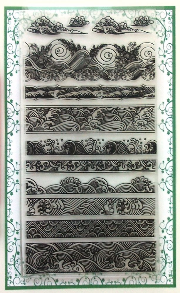 Waves Borders Japanese Calligraphy Engraving Vintage FLONZ 005 clear stamps