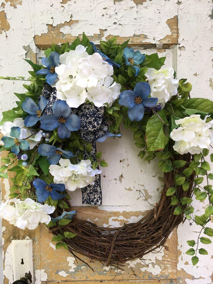 Summer Wreath for Front Door, White Hydrangea Wreath, Etsy Wreath, Designer Wreath by FlowerPowerOhio on Etsy
