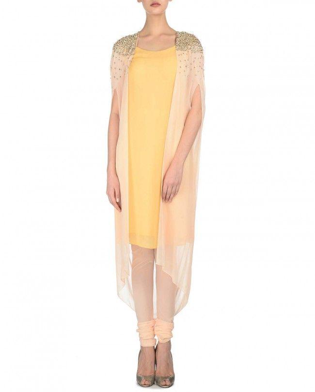Nidhika Shekhar Blush Peach and Yellow Drape Kurta Set
