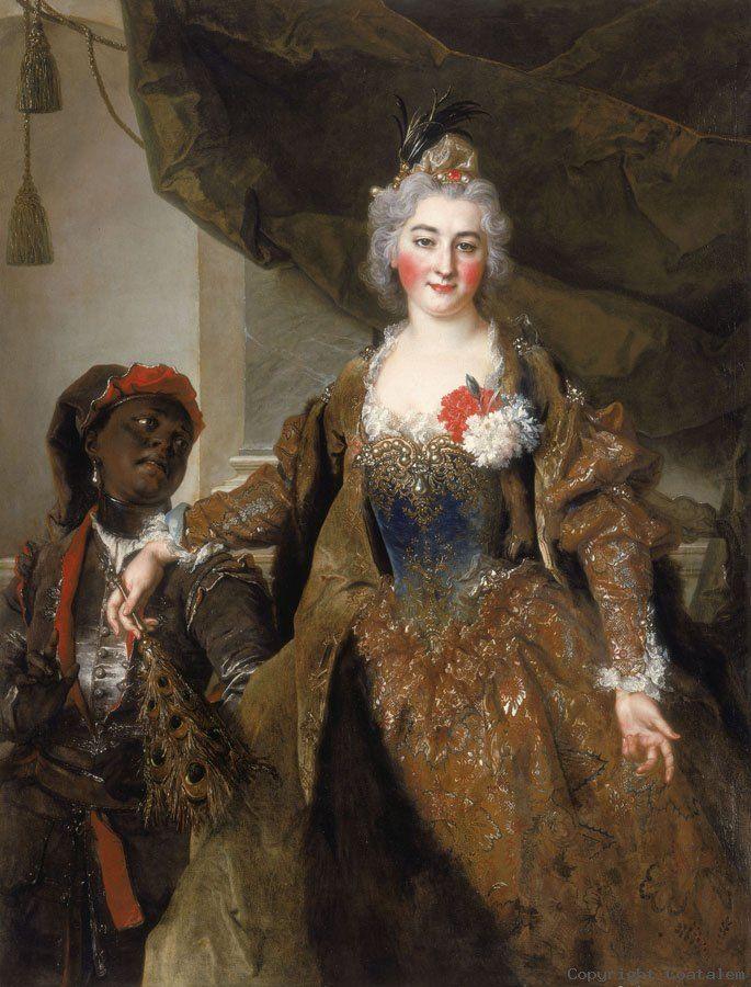 NICOLAS DE LARGILLIERE (Paris 1656 - 1746) Portrait de Madame Soucarières et de son page