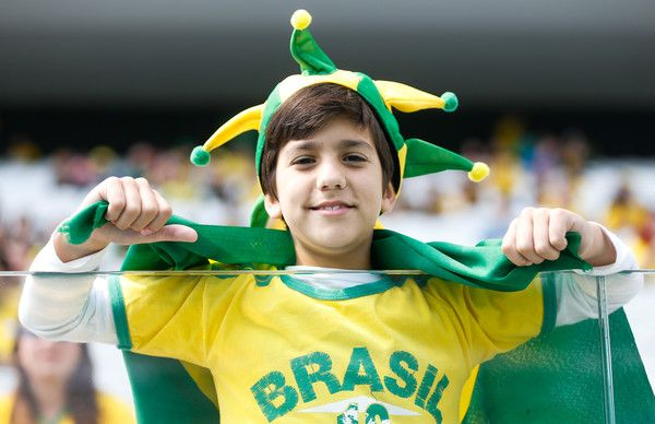 Fan of Brazil before the match between Brazil and Canada women's football bronze medal for the Olympic Games Rio 2016 at Arena Corinthians on August 19, 2016 in Sao Paulo, Brazil.