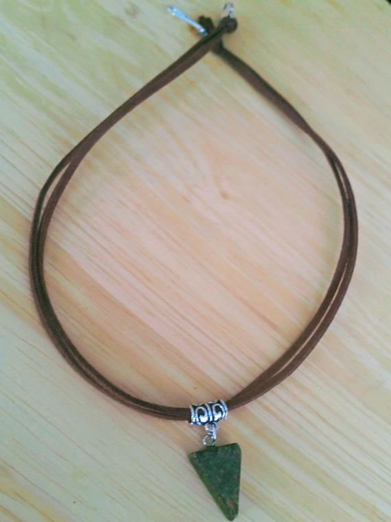 Green necklace Triangle necklace Jasper necklace Boho