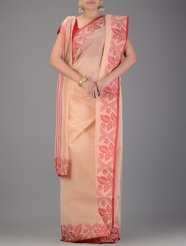 Buy Peach Red Handwoven Tangail Cotton Saree Sarees Woven Tales and gamcha Online at Jaypore.com