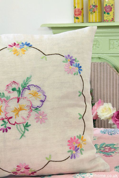 Vintage Home - Pansy and Daisy Embroidered Cushion.