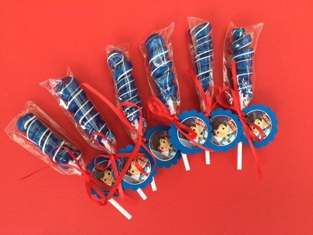 Disney Miles From Tomorrowland Birthday party favor Candy Lollipop Miles from Tomorrowland party favor Miles from Tomorrowland decoration by RockinPartyTreats on Etsy https://www.etsy.com/listing/233360269/disney-miles-from-tomorrowland-birthday