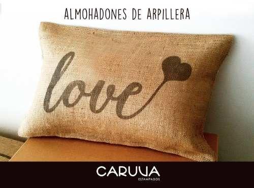 Almohadones Estampados De Arpillera 30x30 Cm