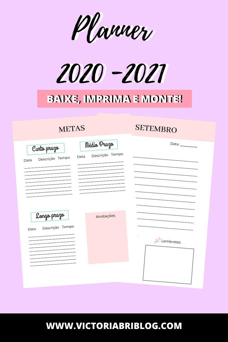 Planner para imprimir 2020 2021 Planner semanal