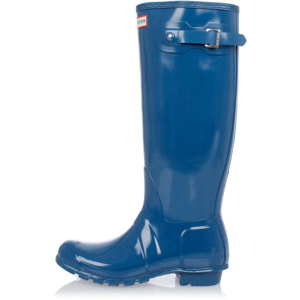 Hunter Rubber Boots ($83) ❤ liked on Polyvore featuring shoes, boots, blue, round toe boots, rubber boots, round toe shoes, wellies boots and blue rain boots