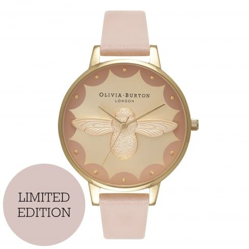 Moulded Circus Bee Dusty Pink & Gold Watch