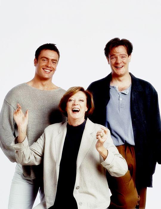 Мэгги Смит, фото со своими сыновьями, Тоби Стивенс и Крис Ларкин
