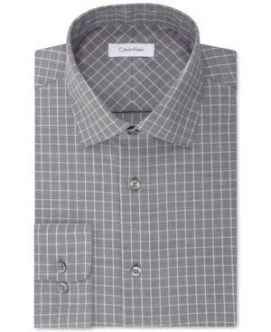 Calvin Klein Men's Classic Fit Non-Iron Performance Gray and White Check Dress Shirt - Gray 16 34/35