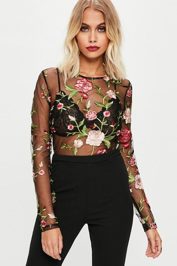 ef8efd31f1e Black Floral Embroidered Mesh Sheer Sexy Bodysuit in 2019 | Floral ...