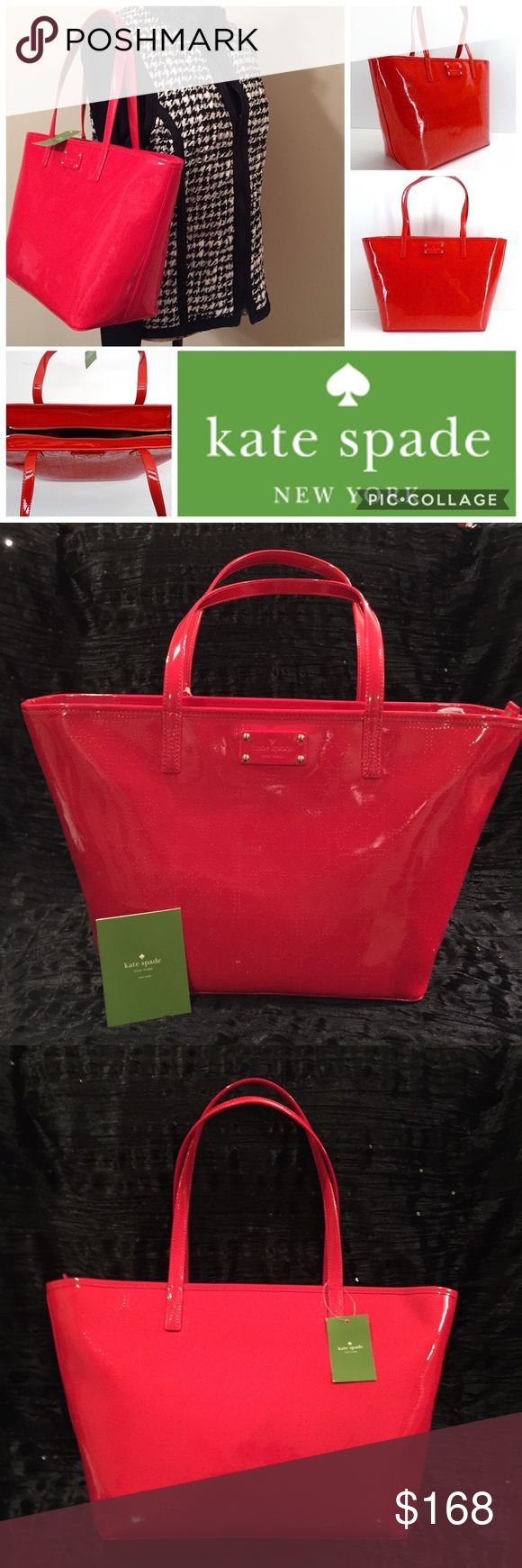 "🎁 KATE SPADE Red Patent Shoulder Bag Tote NWT KATE SPADE Red Patent Harmony Metro Tote Shoulder Bag  New With Tags  MSRP: $178.00  Color: Chili Red  Exterior Features Subtle Laser Perforated Signature Spade Pattern & Embossed Logo Plaque  Interior Signature Lining, One Zip Pocket, Logo Plaque & Two Slip Pockets Measures Approximately 11.5"" (L) At Bottom, Increasing To 16.5"" At Top 10""(H) x 5.5"" (D) Dual Handles w/ 8.5"" Drop Zip Top Closure  Includes Care Card  🎁 Great Gift Idea! 🎁 Smoke…"